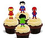 Super-héros Mix–comestible pour cupcakes–montant comestible gâteau Décorations, Pack of 24