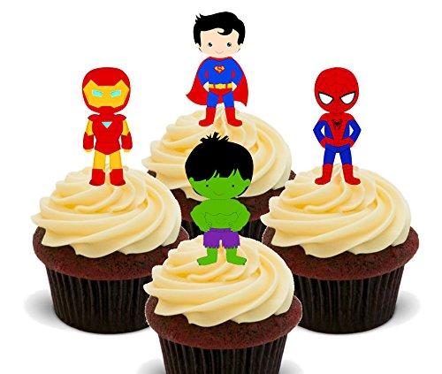 Superhero Mix–Essbare Cupcake Topper–Stand-Up Wafer Kuchen Dekorationen, (Iron Dress Man 2 Up)