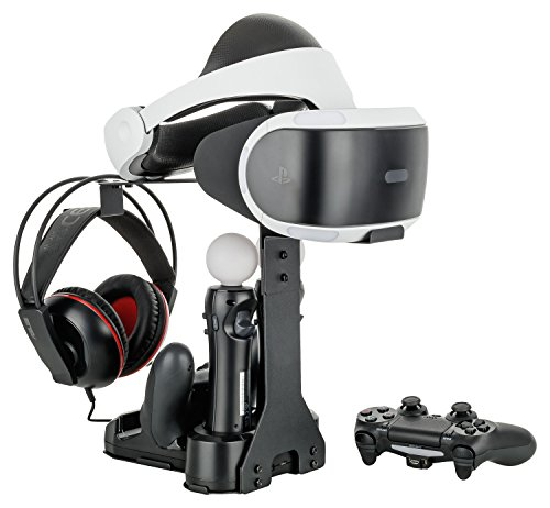 GAMINGER Multi-Ladestation für 2 PlayStation 4 / Slim / Pro DualShock Controller, 2x Move Motion, Halterung für PS VR Virtual Reality, Headset, Schwarz