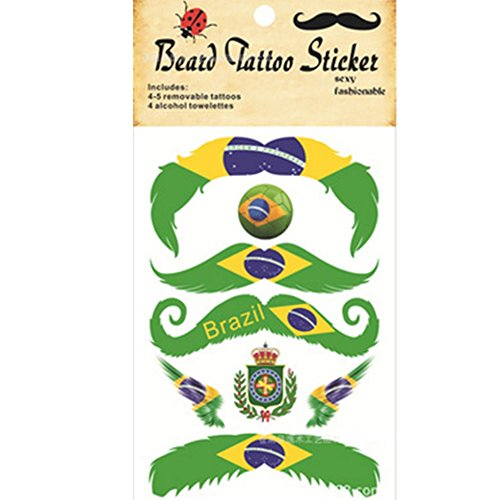 Sungpunet Temporäre Tattoos Schnurrbart Tattoo Fußball Segeln Fußball Segeln Ändern Banner Tattoo Gesicht Aufkleber Body Sticker (Brasilien) 5 Blatt