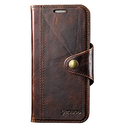 Galaxy S7E Case, Jenuos Genuine Leather Wallet Magnetic Flip Case