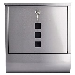 Arboria Stainless Steel Postbox & Newspaper Holder, Silver Metal Mail Letter Box by ARBORIA