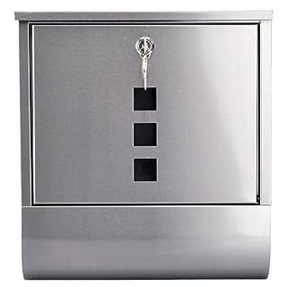 Arboria Edelstahl-Briefkasten mit Zeitungsfach, silberfarbenes Metall
