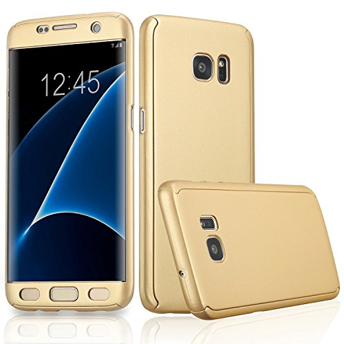 Xelcoy 360 Degree Full Body Protection Front & Back Slim Hybrid Case Cover With Tempered Screen Protector for Samsung Galaxy S7 EDGE - Gold Golden