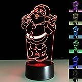 ukgood New Stromversorgung über USB oder Batterie Creative Illusion 3D LED Weihnachten Santa Licht Lampe Dekoration Beleuchtung für Weihnachten Urlaub Zeit, perfekt Nachtlicht für Kinder, Kinder, umwerfenden dekorativen Schreibtisch Lampe Beleuchtung für Erwachsene Art Deco Father Christmas 2