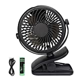USB Fan, Telgoner Quiet Portable Clip Personal Mini Desk Fan with Rechargeble Battery