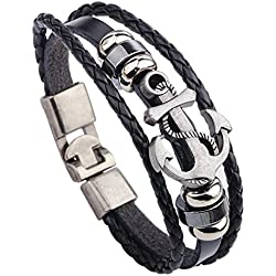 Sorella'z Mens Metal PU Leather Black Anchor Bracelet