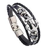 #2: Sorella'z Mens Metal PU Leather Black Anchor Bracelet