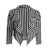 LOL-Damen-Frauen schwarze weiße gestreifte Gestellte Wasserfall Coat Freizeitjacke Blazer Größe:von 34 bis 48 (M-L:(38-40), Schwarz-Weiß Streifen)
