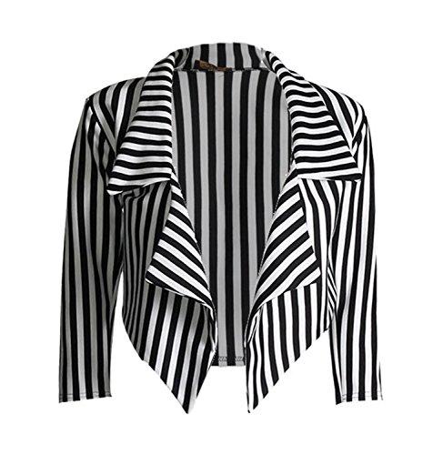 Gestreifte Blazer Kostüm - LOL-Damen-Frauen schwarze weiße gestreifte Gestellte Wasserfall Coat Freizeitjacke Blazer Größe:von 34 bis 48 (M-L:(38-40), Schwarz-Weiß Streifen)