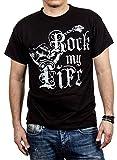 Vintage Band T-Shirt für Herren schwarz ROCK MY LIFE Gitarre Größe XL