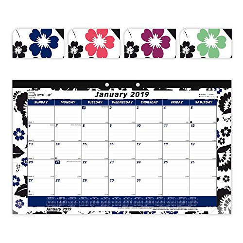 Brownline 2019 Monthly Colorful Desk Pad Calendar, Blossom, 17.75 x 10.875 inches (C195112-19) (Clear Desk Pads)