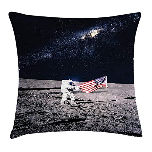 Outer Space Decor Throw Pillow Cushion Cover, Moon Astronaut on Universe with American Flag Milky Way Future Picture, Decorative Square Accent Pillow Case, 18 X 18 Inches, Brown Blue