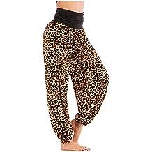 7f0236f63661 Pantalon Fluide Femme Imprimé Florale Ryures Pants Éléphant Yoga Doux  Casual Losse Pantalon Sarouel Aladin Jogging
