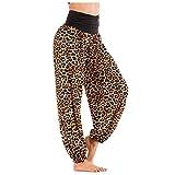 ZIYOU Damen Weite Leopardenprint Hosen, Beiläufige Breit Yoga Fitness Pumphos Beinhosen Loose fit Latzhose Lange Hose (L,Gelb)