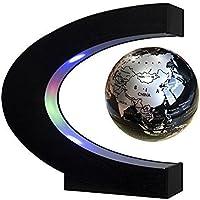 EASY EAGLE C forma de levitación magnética flotante globo eléctrico de rotación del mapa del mundo con luces LED para la educación Demostración Enseñanza Inicio Oficina de decoración de escritorio regalo de cumpleaños-4 pulgadas de color negro, verde y oro