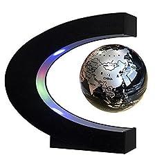 Idea Regalo - Easy Eagle Mappamondo Magnetico 3 Pollici, Globo Fluttuante Levitazione Elettronico con RGB Luce LED per Decorazione Della Casa Ufficio Regali d'affari Studente Educazione - Nero