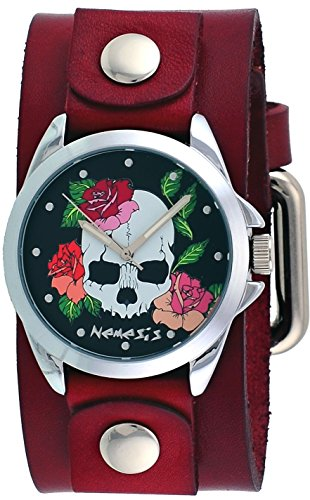 Nemesis #GBR933K Women's Skull and Roses Red Junior Wide Leather Cuff Band Watch