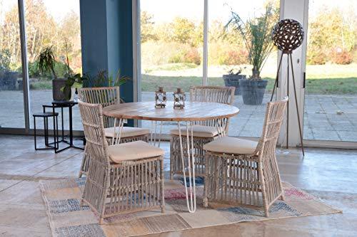 Atelier blanc Table Ronde métal et Bois Blanc Meuble House