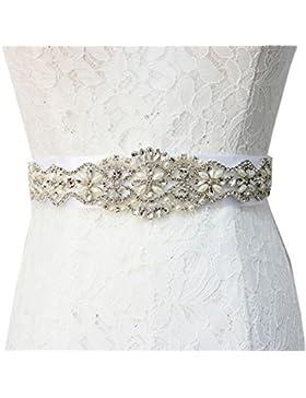 TRLYC - Cinturón con aplique de cristales para vestido de novia, materiales sintéticos, trlyc gold ribbon, 34.0cm...