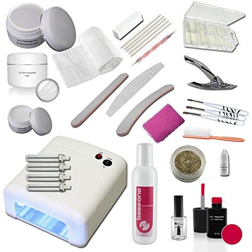 UV Gel Starterset inkl. UV-Gerät mit Fiberglas Gel, 1-Phasengel und Nailart Zubehör - Startset - Einsteigerset - UV Gel Kit -