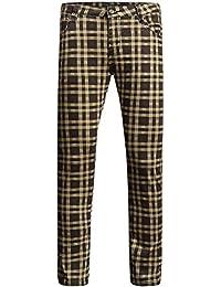 SSLR Pantalons Jeans Hommes Coupe Droite à Carreaux