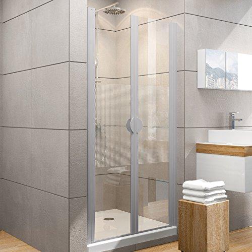 Schulte Duschkabine Pendeltür Nische Madrid, 90x180 cm, 5 mm Sicherheits-Glas Quattro, alu-natur, 2-teilige Duschtür