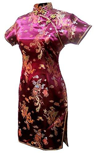 7Fairy Damen Burgund Jahrgang Chinesisch Party Kleid Cheongsam Mini Drachen Größe De (Robe Kostüm Chinesische)