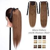 Queue de Cheval Extension Naturel Rajout Vrai Cheveux Humain Ponytail Attachée Par Bandeau Postiche Femme 20 Pouces (50cm) - #06 Châtain Clair