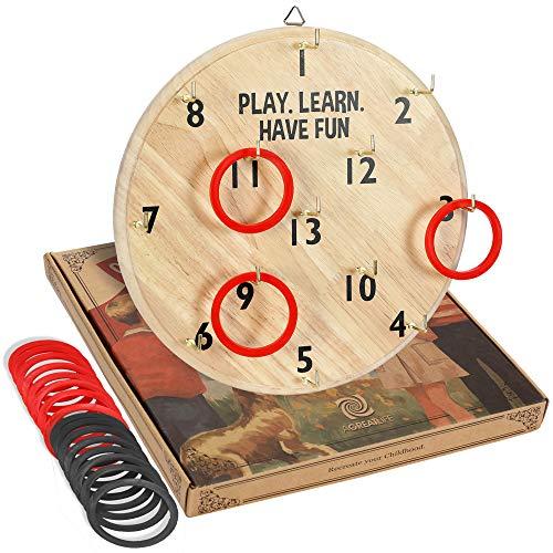 aGreatLife® Ringwurfspiel Original - Abwechslungsreiches Spiel für draußen mit 16 Ringen - Ringe werfen - Lustiges Kinder Wurfspiel für Draussen - Familien Gartenspiel - Outdoor Holzspiel