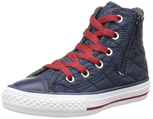 Converse Star Hi Side Zip Tex - B2, Homme, Bleu (Nighttime Navy/chillipaste Qui), Taille bleu (Nighttime Navy/Chillipaste Qui)