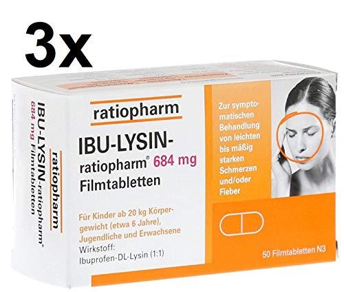IBU-LYSIN-ratiopharm 684 mg, Spar-Set 3x50 Filmtabletten. Gegen leichte bis mittlere Schmerzen wie z.B Kopfschmerzen und Migräne.Lactosefrei.