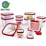 24 tlg. Frischhaltedosen Vorratsdosen Aufbewahrungsdosen Vorratsbehälter Gefrierbox Vorratsdosen BPA frei geeignet für Spülmaschine Mikrowelle Gefrierfach