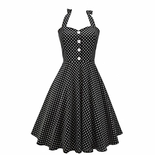 Dissa M1276 femme Rockabilly Robe de Soiré cocktail Robe de Bal Retro Noir