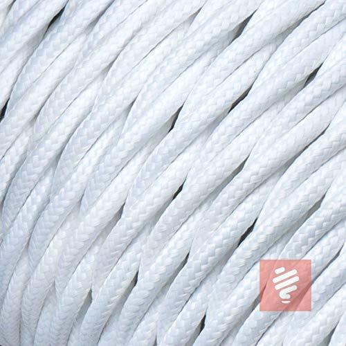 Textilkabel für Lampe, verseilt (geflochten), dreiadrig - 3x0,75mm², Weiß - 10 Meter