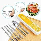 lzndeal 6pcs/Set Cangrejo Cracker Set Kit de Herramientas de marisco, Tenedores Acero Inoxidable Tenacillas