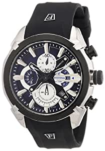 Festina Men's Quartz Watch with Blue Dial Chronograph Display and Black Rubber Strap F6819/2