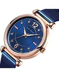 XKC-watches Relojes de Mujer, Mini Focus Mujer Reloj de Pulsera Cuarzo Acero Inoxidable