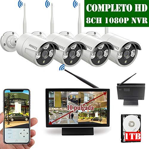 【2019 Neu】Überwachungskamera Set System Videoüberwachung CCTV 1080P 10 Zoll Bildschirm NVR Rekorder Überwachungskamera Outdoor Mit 4 1080P Innen/Außen IR Nachtsicht Bewegungsmelde,Kamera Durch OOSSXX - X-10 Funk-kamera