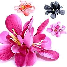 4 Farben Set Rosa Lila Orange Schwarz Haarspange Stoffblumen Haarteil Haarklammer Blüte Blume Damen Haarschmuck