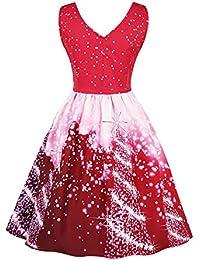 WWricotta Damen Weihnachten Kleid Elegante Kleider Abendkleid Vintage Party Plus Size Kleid Cocktailkleid Rockabilly Christmas Dress Schultergurt Skaterkleid