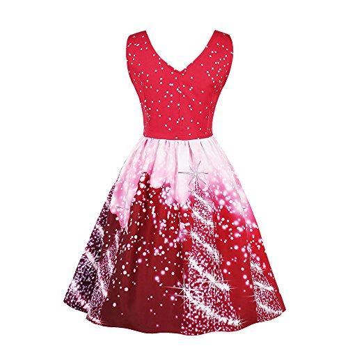 SEWORLD Vintage Christmas Damen Ärmellos Große Größe Damen Santa Party Kleid Vintage Weihnachten...