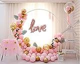 LANGXUN Set Arco da Tavolo Decorazione per Feste Palloncino Rosa Macaron Palloncino in Metallo Dorato Palloncino con Paillettes per Festa di Compleanno per Bambini, Matrimonio, Anniversario