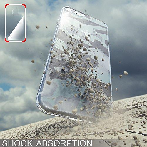 iPhone 8 / 7 Camouflage Custodia di NICA, Silicone Protezione con Retro Rinforzata e Bumper per Cellulare, Cover Case Protettiva Copertura Sottile per Telefono Apple iPhone 7 / 8, Colore:Turchese Trasparente
