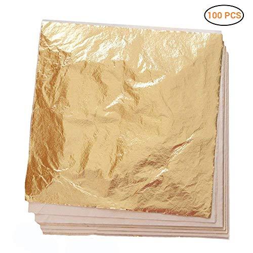EisEyen 100 Sheets Imitation Gold Leaf Foil Paper for Arts, Gilding Crafting, Decoration DIY, Gold Blatt für Kunst, Vergoldung Handwerk, Dekoration, Möbel, 5.5 by 5.5 Inches