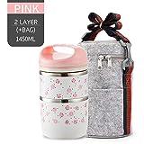 Furnisya Scatola da Pranzo Termica Giapponese Sveglia Scatola da bento in Acciaio Inossidabile a Prova di perdite No. Pink 2 with Bag