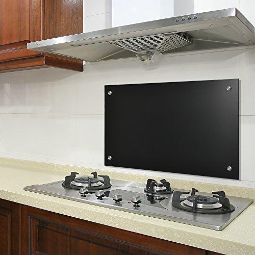 neu.haus] Pannello vetro per cucina / paraschizzi(90x50cm) - nero ...
