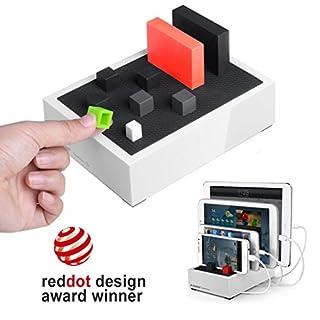 Avantree 4 Port Universal Multi USB Ladestation für Mehrere Geräte, Tablet Handy Mehrfach Dockingstation Ladegerät für Samsung, Apple iPhone, iPad, Smartphone [2 Jahre Garantie]