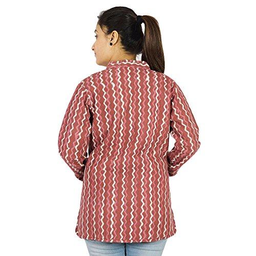 Ethnique réversible main Coton matelassé hiver veste chaude Femmes Manteau Blazer Rose et orange