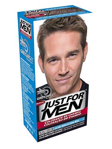 JUST FOR MEN Colorante en champú - Tinte para las canas del pelo para hombres - castaño medio - 30 ml